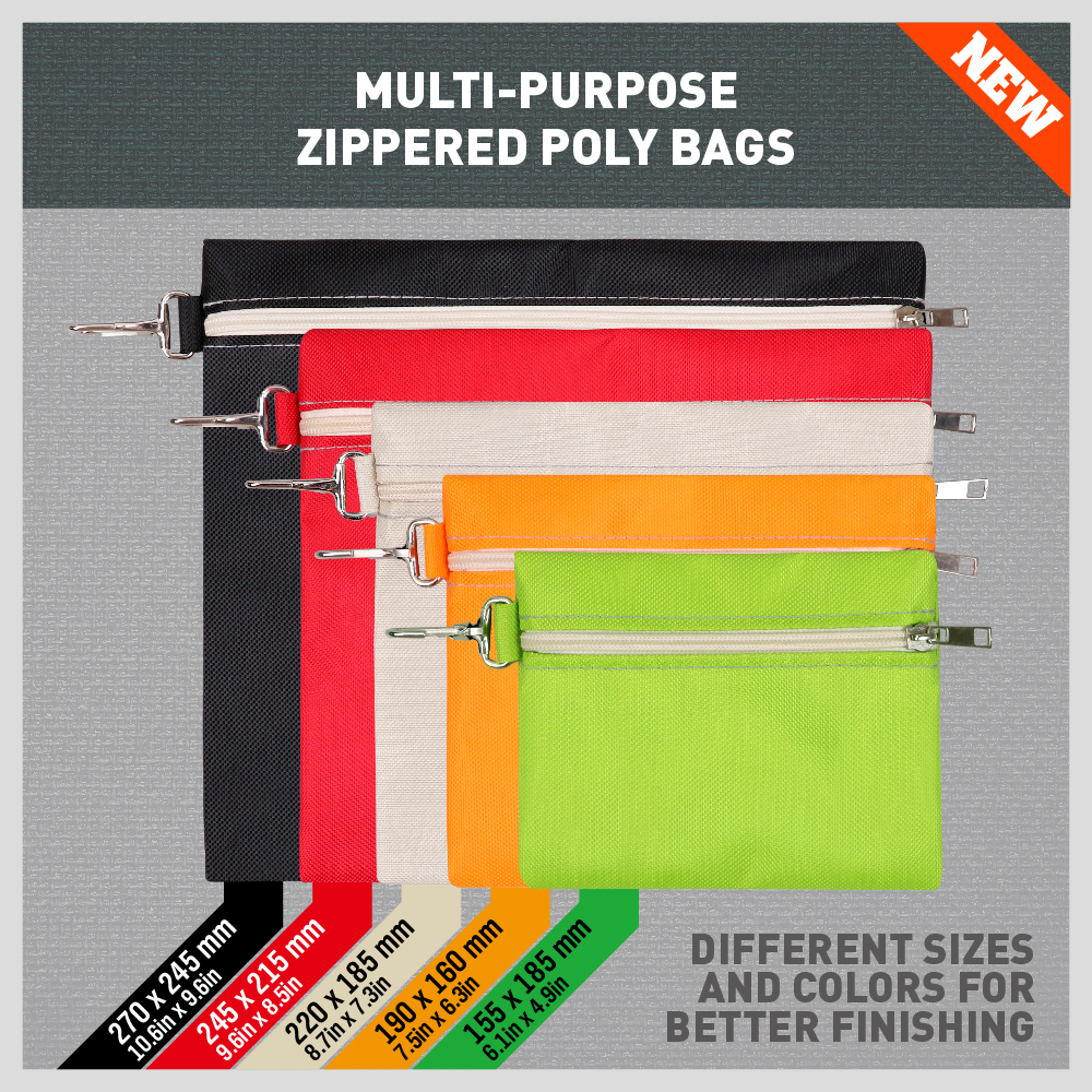 5 Piece Zipper Poly Bags Waterproof Multi-Purpose Pouch