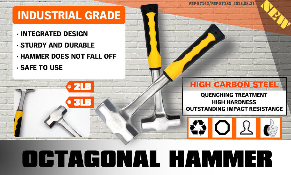 Steel Hammer Double Octagonal Solid Forged One Piece