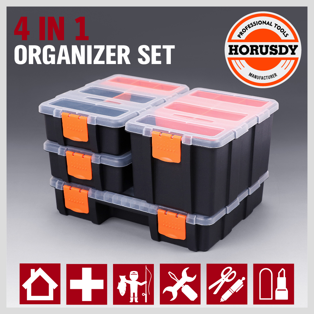 Removable Trays Rugged, High-Impact Polystyrene Frame Ideal for storing supplies for parts, screws, nuts, bolts, arts, crafts, sewing etc. SIZE Large: 29 x 23 x6 cm Medium: 15.6 x 23 x 11.5 cm Small: 15.6 x 23 x 6 cm