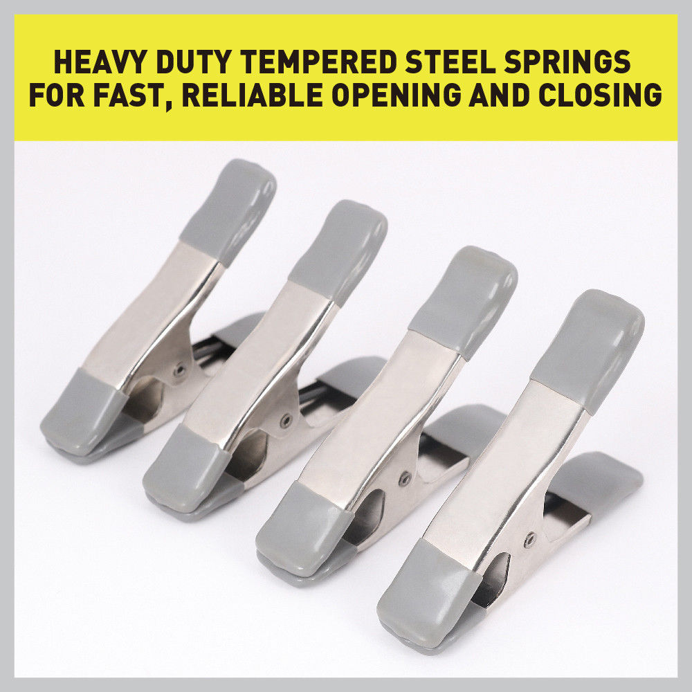 """8 Piece 4/"""" Metal Spring Clamps 8 x 100 mm Grip Clip Clamps Zinc Plated Steel"""